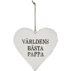 Hjärta världens bästa pappa 15 cm.