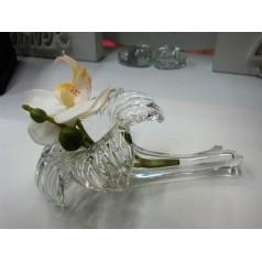Glas vas form blomma liggande ,14cm.